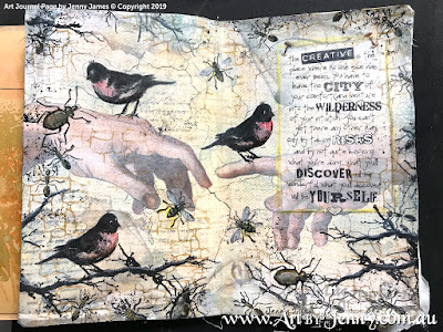 finished mixed media art journal page by Jenny James featuring Tim Holtz Stamps