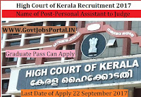 High Court of Kerala Recruitment 2017– 35 Personal Assistant to Judge