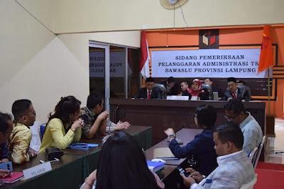 Bawaslu Lampung Gelar Sidang Pelanggaran Administrasi Terstruktur, Sistematis dan Masif (TSM)