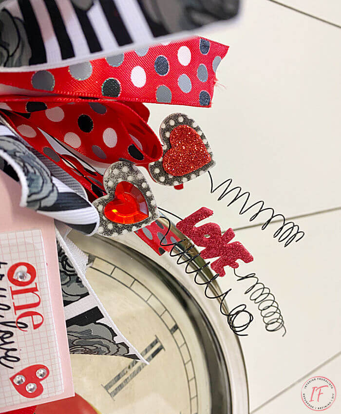 Repurposed Wall Clock Whimsical Valentine Wreath