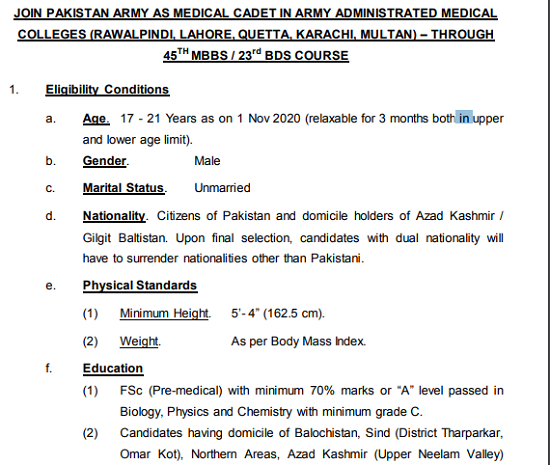 join-pak-army-as-medical-cadet-45th-online-registration