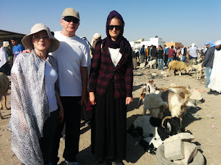 Tourists and animals at the Bedouin market