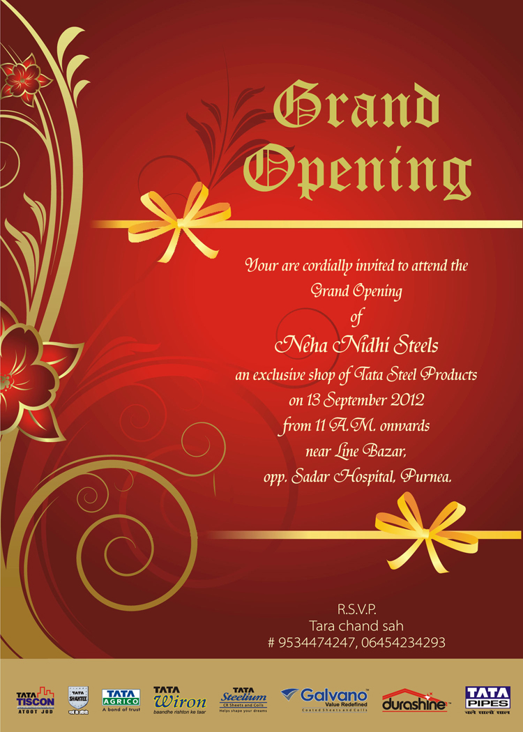 Showroom Opening Invitation Card Matter was Lovely Design To Create Nice Invitation Ideas