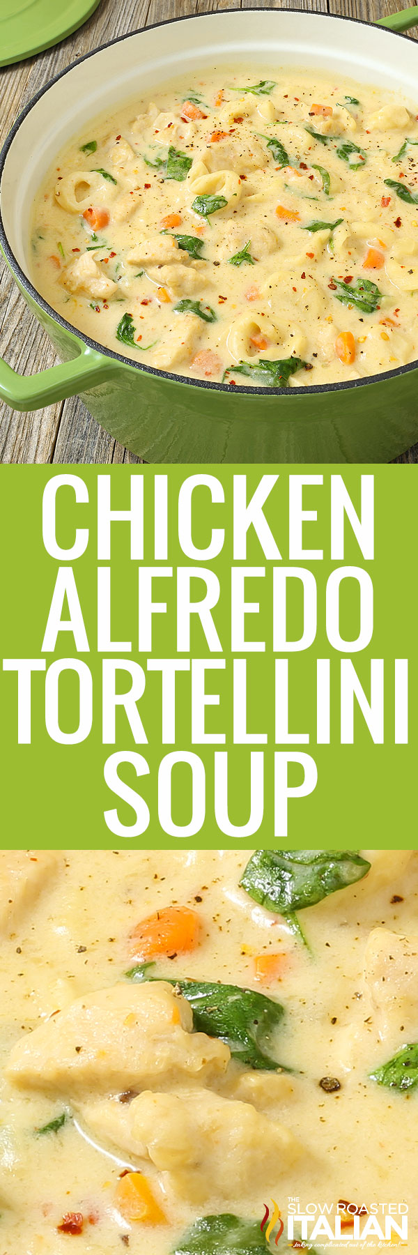 chicken tortellini soup with spinac