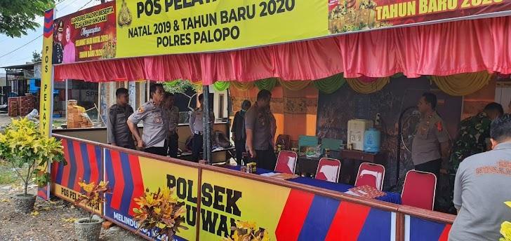 Kapolres Palopo, Bersama Sejumlah Pejabat Kunjungi Pos PAM Natal Dan Tahun Baru 2020