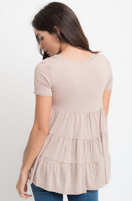 Buy now taupe Short Sleeve Ruffled Tiered Tunic Online $10 -@caralase.com