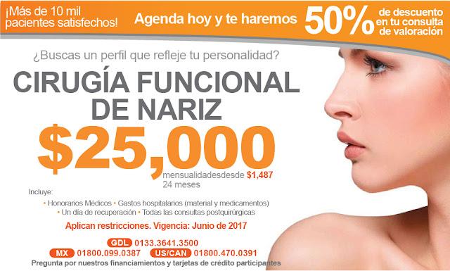 Precio de cirugia funcional de nariz rinoplastia septumplastia en Guadalajara