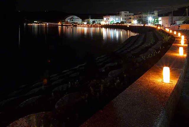 bay, candlelight, festival, night, Ogimi, Okinawa, seawall
