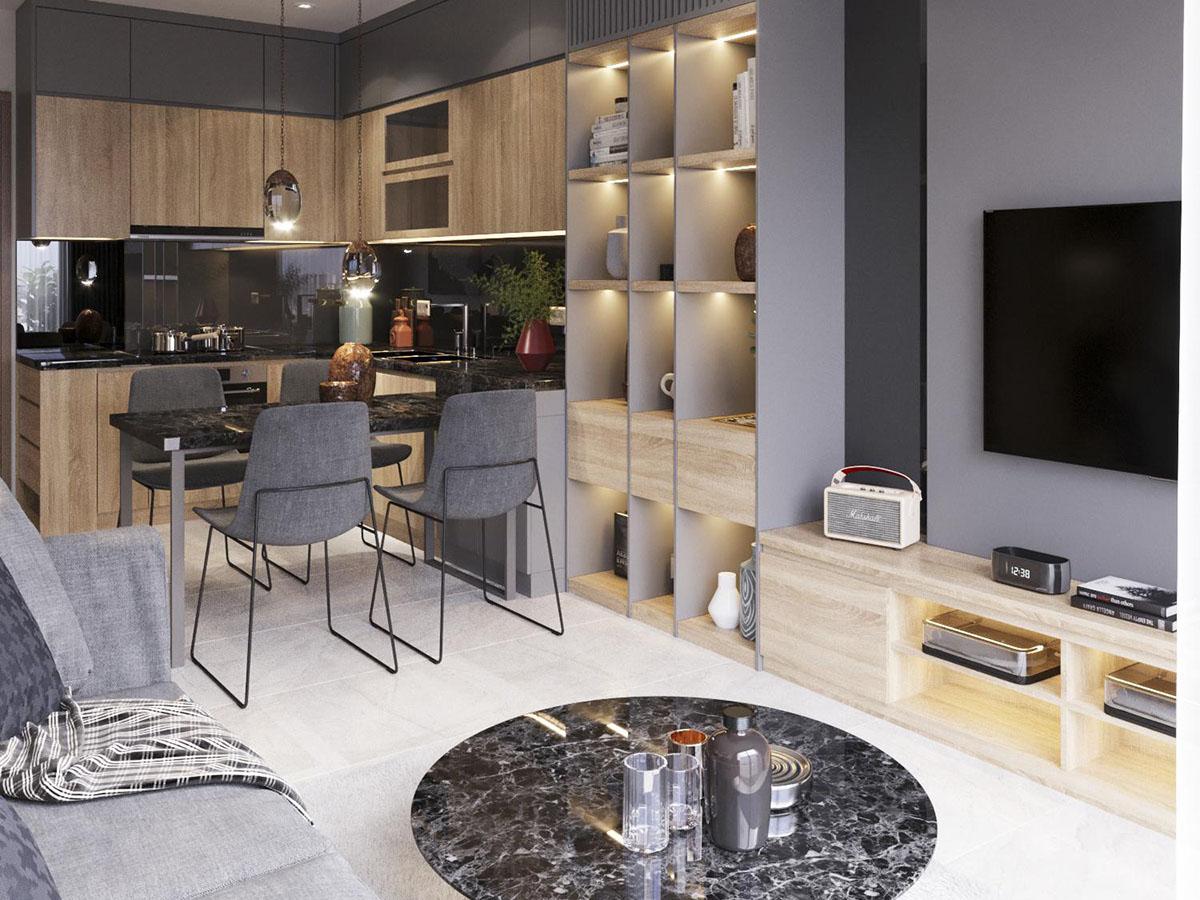 Thiết kế nội thất căn hộ 43m2 Vinhomes Ocean Park Gia Lâm
