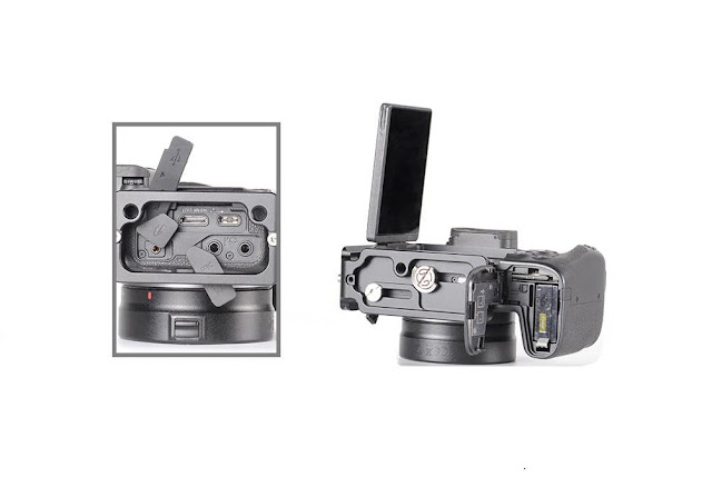 Sunwayfoto PCLO-RP L Bracket on EOS RP side connectors and battery
