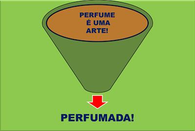 A imagem mostra o funil de essência de perfume pronto para o próximo passo o do engarrafamento e a venda ao consumidor e diz: Perfume a arte perfumada.