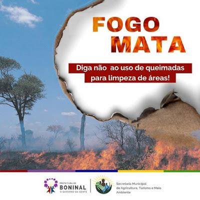 Prefeitura de Boninal lança  campanha contra  queimadas