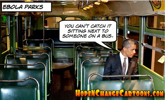 obama, obama jokes, ebola, conservative, hope n' change, hope and change, stilton jarlsberg, CDC, bus, political, humor, cartoon