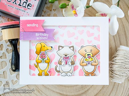 Hugging Critters Birthday Card by Tatiana Trafimovich | Sending Hugs Stamp Set by Newton's Nook Designs #newtonsnook #handmade