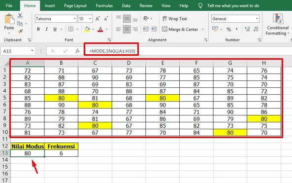 Cara Mencari Modus di Excel untuk Data Tunggal