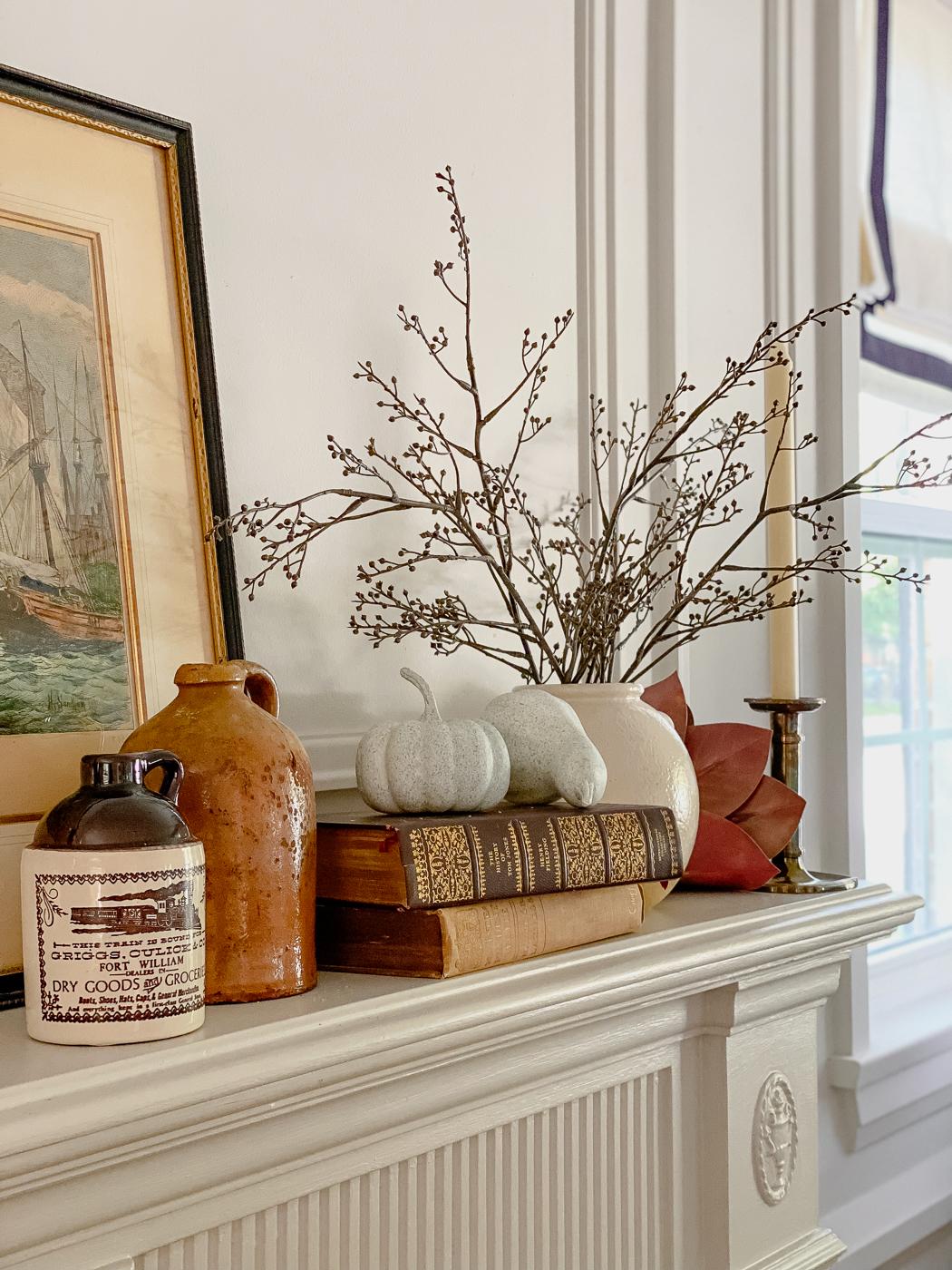 vintage fall mantel, vintage fall decor, fall mantel decor, moody fall decor