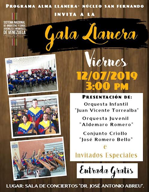 APURE: Invitación al concierto de la Gran Gala Llanera para este viernes a las 3pm en San Fernando.
