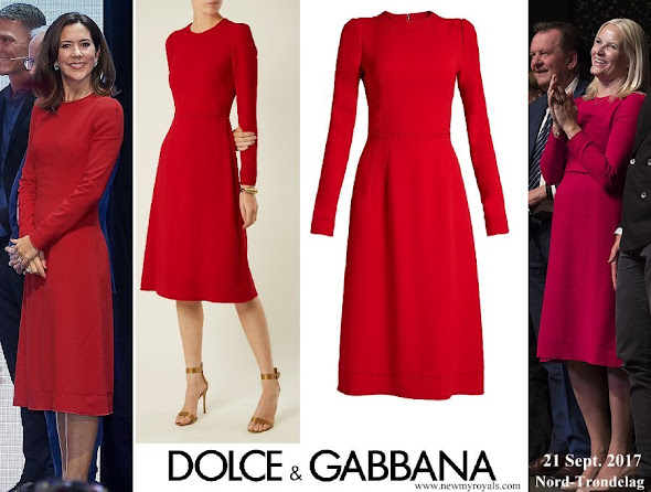 Crown Princess Mette Marit, Crown Princess Mary and Queen Maxima wore same DOLCE & GABBANA Contrast stitch cady dress