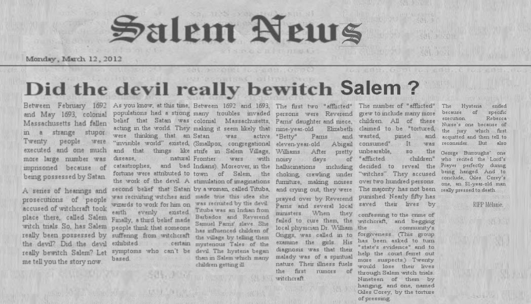 newspaper article pertaining to salem witch trials