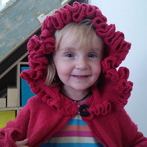 Ruffle Hood Coat free Knitting Pattern