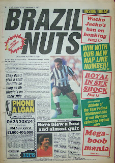 Back page of an old Star Sunday Sport newspaper from 20-9-87