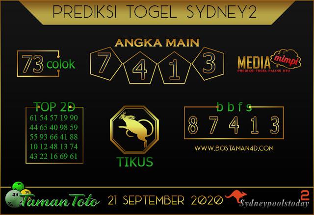 Prediksi Togel SYDNEY 2 TAMAN TOTO 21 SEPTEMBER 2020