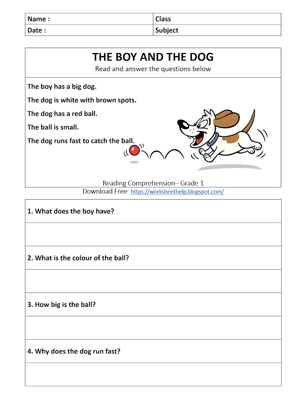 Reading Comprehension Worksheet Grade 1