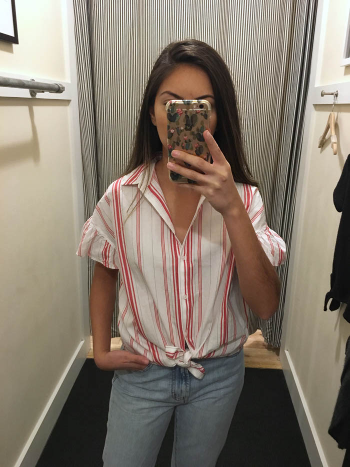 red and white stripe shirt