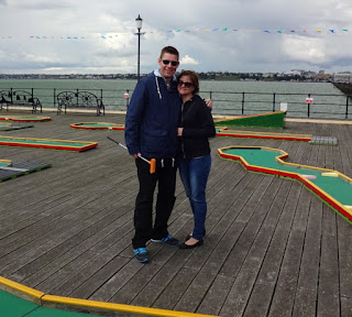 Richard and Emily Gottfried at Southend Pier's Crazy Golf course earlier this year