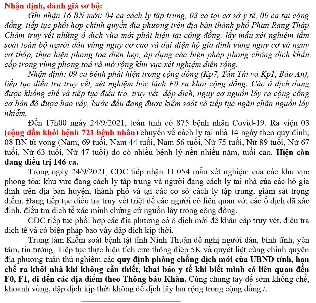 Ngày 24-9 Ninh Thuận ghi nhận 16 ca mắc Covid-19 trên địa bàn tỉnh