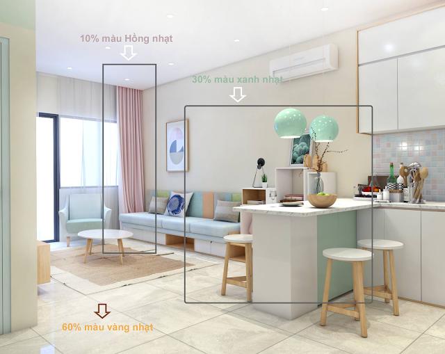 Lưu ý phối màu cho nội thất đẹp mê ly với nguyên tắc 60-30-10