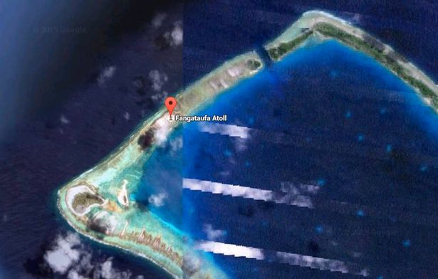 Unclear: the site of the Fangataufa atoll is out of focus on Google Earth (Image: Google Maps)