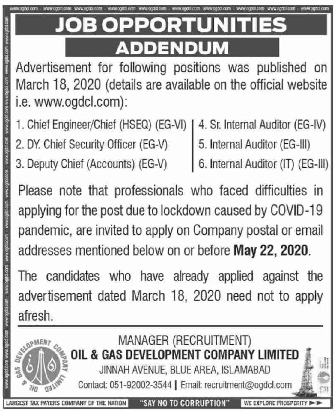Latest Oil & Gas Development Company Limited OGDCL Management Posts Islamabad 2020