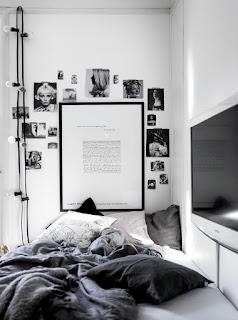 Dekorasi kamar Tidur Cowok Abu Putih