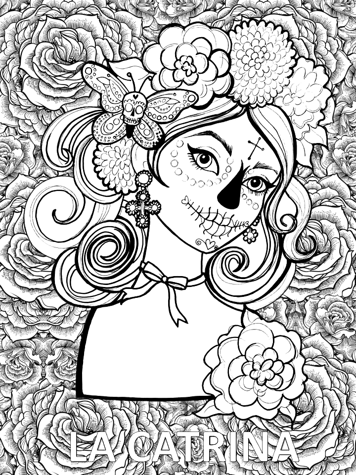 Pinto Dibujos Mandala De Día De Muertos Mandala De La Catrina