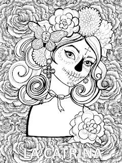 Mandala de día de muertos | Mandala de la catrina para colorear