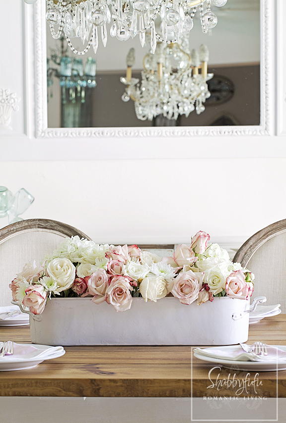 pink and white flowers centerpiece for spring