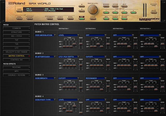 Interface do Plugin Roland - VS SRX WORLD 1.0.3