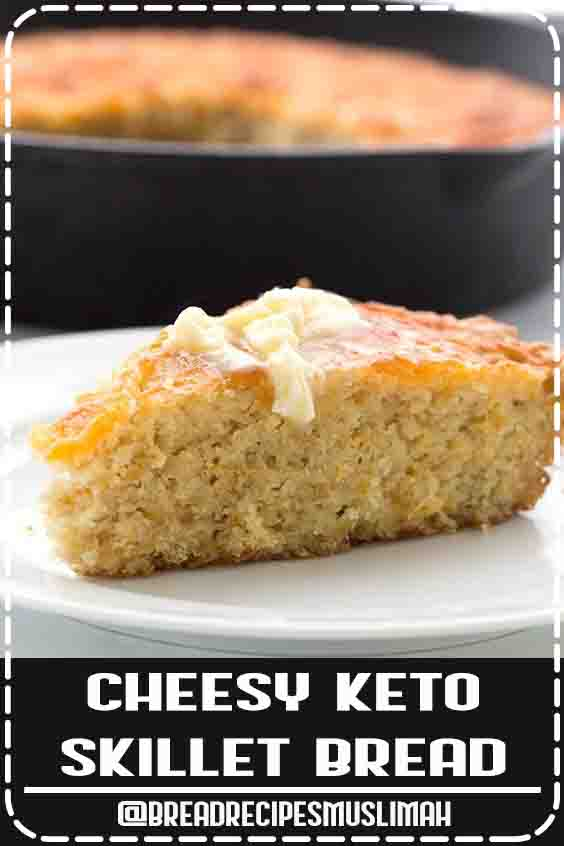 This is the best keto bread recipe! So easy to make and it tastes like cheesy cornbread. It also makes a fabulous stuffing. #ketodiet #ketorecipes #ketobread #skilletbread #cornbread #Bread #Recipes #easy #keto