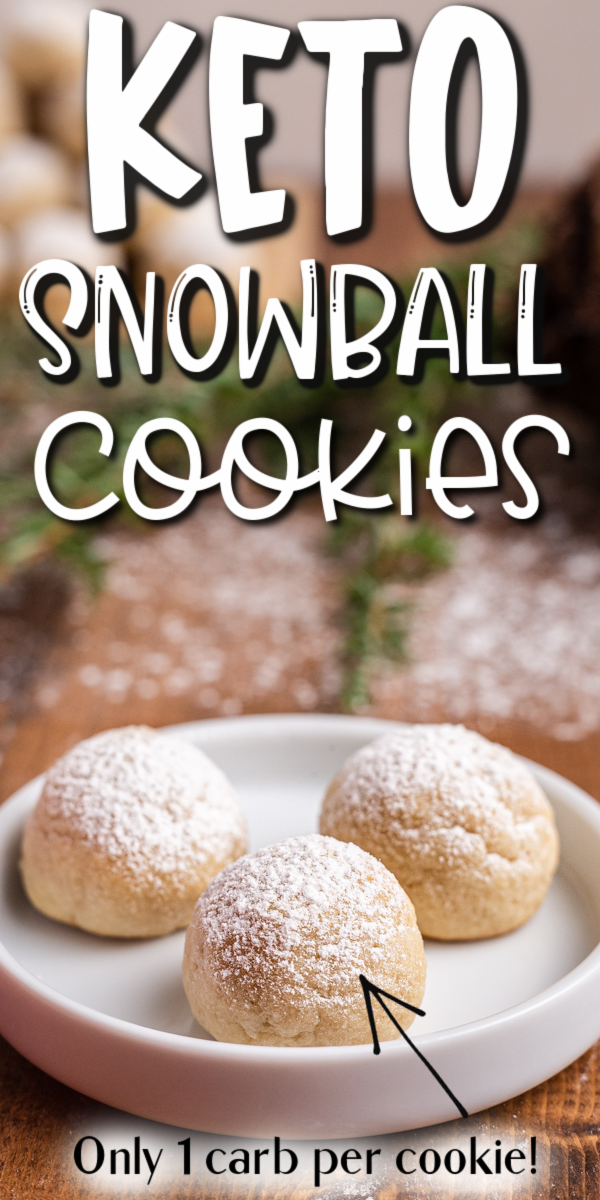 Keto Snowball Cookies - These keto snowball cookies are a holiday classic made low carb with just a handful of ingredients. They couldn't be any easier to make and they are melt in your mouth delicious! #keto #lowcarb #glutenfree #sugarfree #christmas #snowball #russian #teacake #mexican #wedding #cake #cookie #recipe | bobbiskozykitchen.com