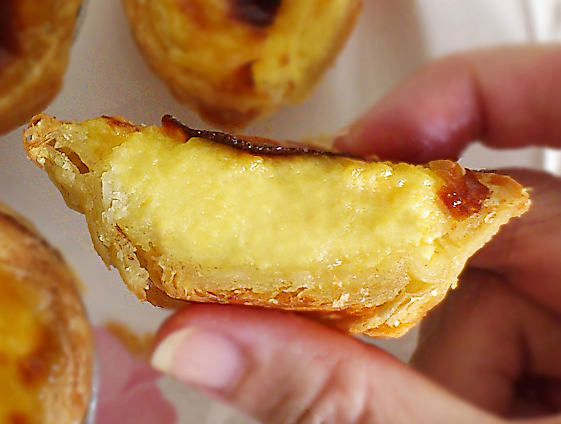 portuguese egg tart with evenly brown crust