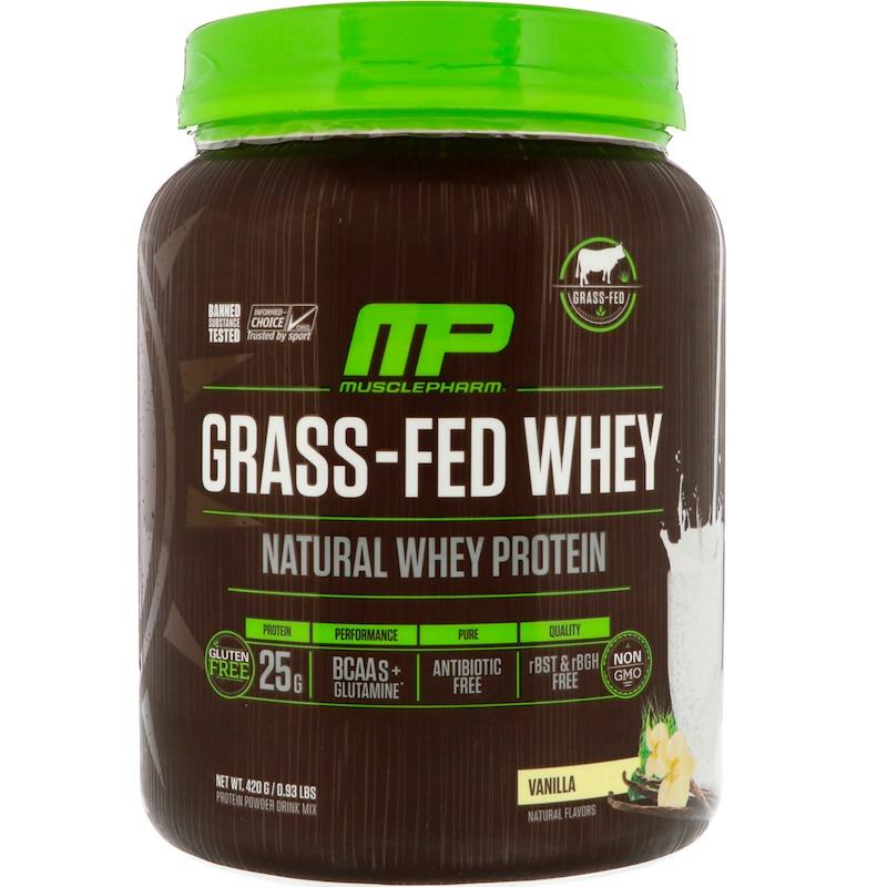MusclePharm Natural, Сывороточный протеин от животных, питавшихся травой, ваниль 0,93 ф. (420 г)