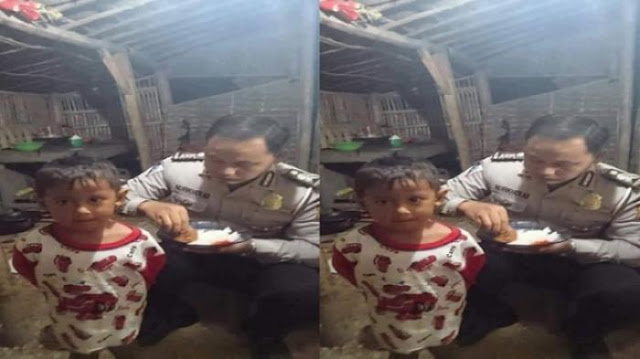 Polisi Tinggal di Gubuk Sambil Suapi Anak Bikin Haru, Meski Hanya Makan Tempe Yang Penting Dari Hasil Keringat Halal