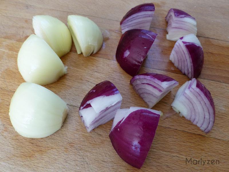 Coupez les oignons en 4 ou en 8.