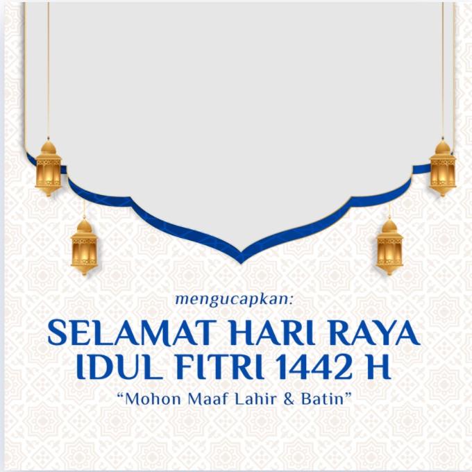 Desain Twibbon Lebaran Idul Fitri 1 Syawal 1442 H (2021) dengan background mozaik islam dan lentera