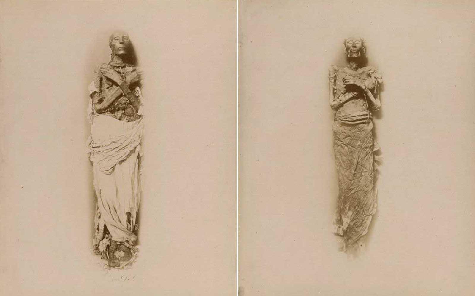 (Izquierda) La momia de Seti I, que reinó alrededor de 1290-1279 aC. (Derecha) La momia de Ramsés II, quien reinó entre 1279-1213 a.