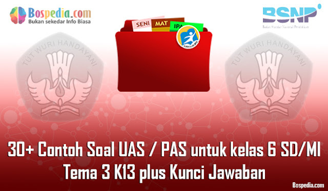 30+ Contoh Soal UAS / PAS untuk kelas 6 SD/MI Tema 3 K13 plus Kunci Jawaban