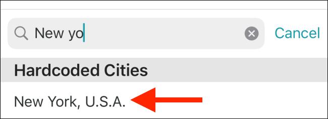 اضغط على المدينة لإضافتها إلى القائمة.