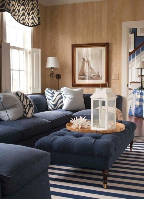 Navy Blue Nautical Living Room Interior Design Idea