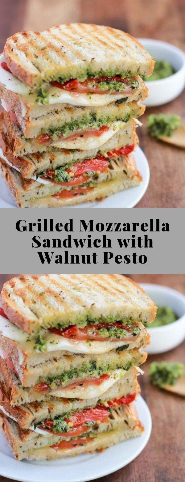 Grilled Mozzarella Sandwich with Walnut Pesto #lunch #grilledsandwich #mozarellasandwich #vegetarian